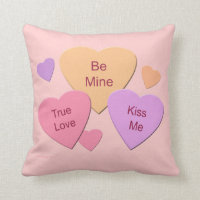 Three Candy Hearts Throw Pillow