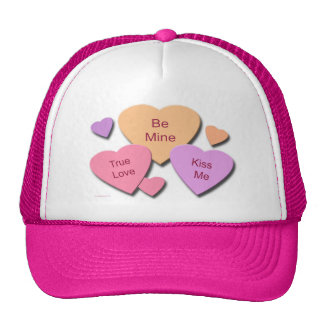 Three Candy Hearts Trucker Hat