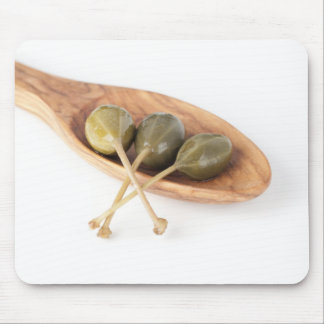 Three Capers in a Wooden Spoon Mousepad