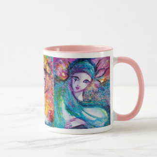 THREE CARNIVAL MASKS IN BLUE RED AND YELLOW MUG
