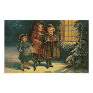 Three Carolers Cross Stitch Poster