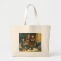 Three Carolers Cross Stitch Tote Bag