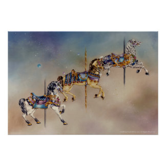 Three Carousel Horses Posters, Fine Art Poster