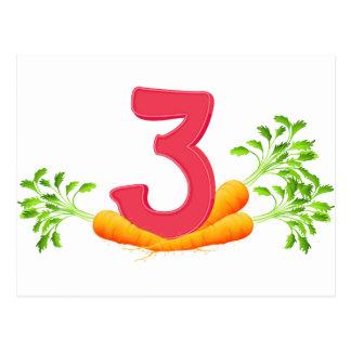 Three carrots postcard