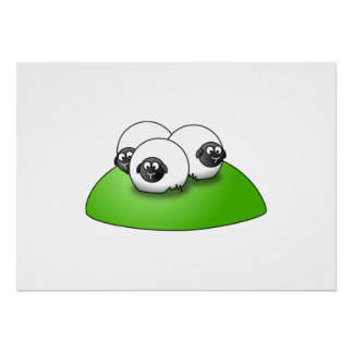 Three Cartoon Sheep on the Grass Print
