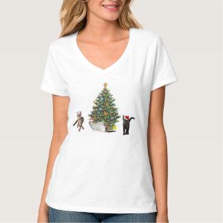 Three Cat Santas T-Shirt