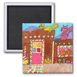 Three Cats at an Adobe Gingerbread House 2 Inch Square Magnet