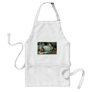Three Cats & Big Blue Easter Egg Adult Apron