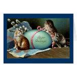 Three Cats & Big Blue Easter Egg Card