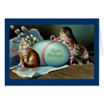 Three Cats & Big Blue Easter Egg Greeting Card