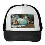 Three Cats & Big Blue Easter Egg Mesh Hat