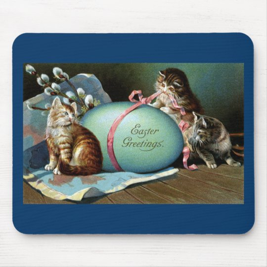 Three Cats & Big Blue Easter Egg Mouse Pad