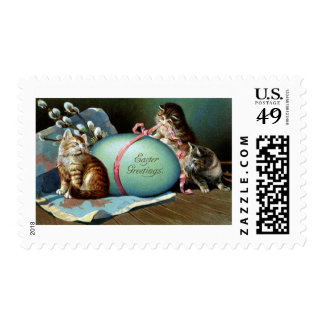 Three Cats & Big Blue Easter Egg Postage