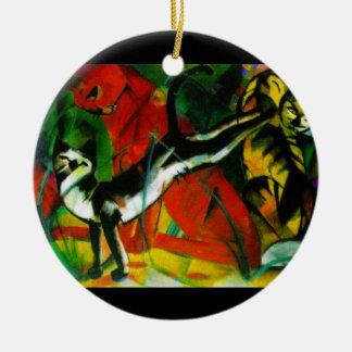 Three Cats Ceramic Ornament