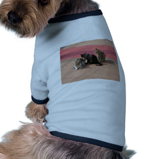 Three cats in a pensive mood dog t shirt