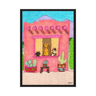 Three Cats in a Pink Adobe House Canvas Print
