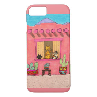 Three Cats in a Pink Adobe House iPhone 8/7 Case