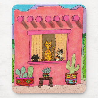Three Cats in a Pink Adobe House Mouse Pad