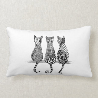 Three Cats in a Row Pillow in a Design