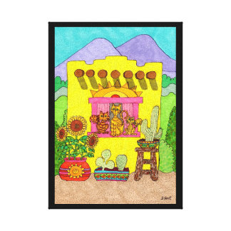 Three Cats in a Yellow Adobe House Canvas Print