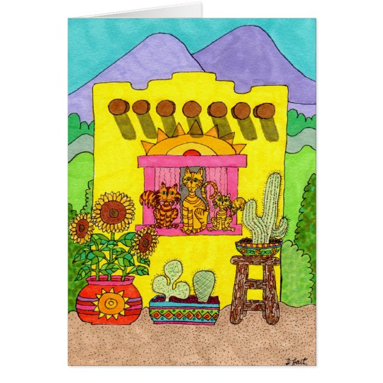 Three Cats in a Yellow Adobe House Card