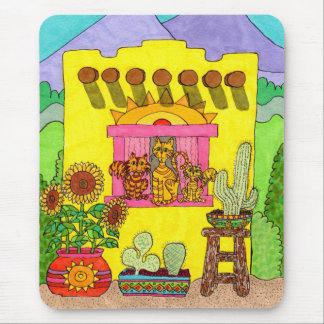 Three Cats in a Yellow Adobe House Mouse Pad