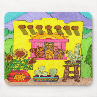 Three Cats in a Yellow Adobe House Mousepad