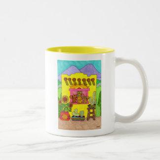Three Cats in a Yellow Adobe House Two-Tone Coffee Mug
