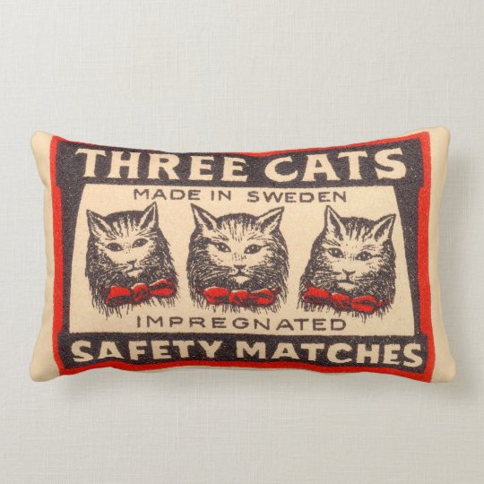 Three Cats Safety Matches Label Lumbar Pillow