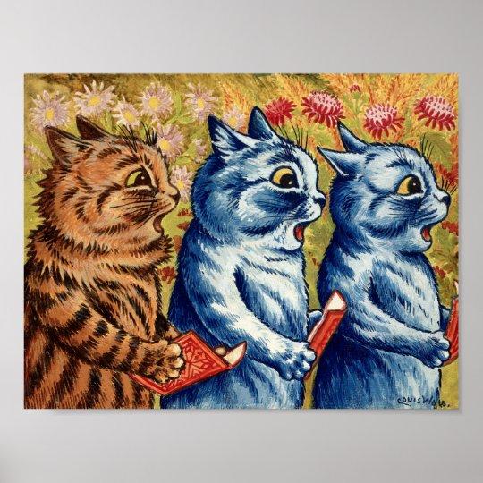 5f22ecc76cb Three Cats Singing by Louis Wain Poster