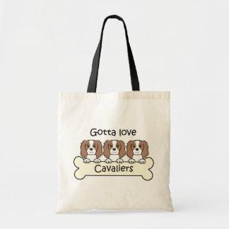 Three Cavalier King Charles Spaniels Canvas Bag