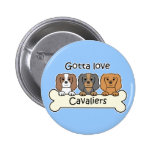 Three Cavalier King Charles Spaniels Pinback Buttons
