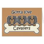 Three Cavalier King Charles Spaniels Greeting Cards