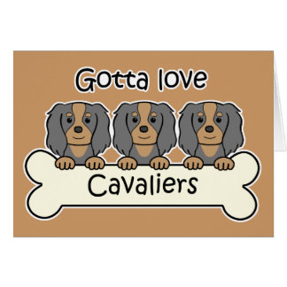 Three Cavalier King Charles Spaniels Card