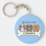 Three Cavalier King Charles Spaniels Key Chain