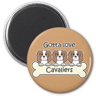 Three Cavalier King Charles Spaniels 2 Inch Round Magnet