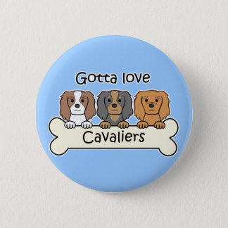 Three Cavalier King Charles Spaniels Pinback Button