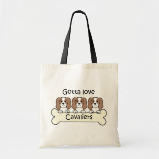 Three Cavalier King Charles Spaniels Tote Bag