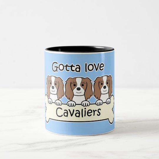 Three Cavalier King Charles Spaniels Two-Tone Coffee Mug