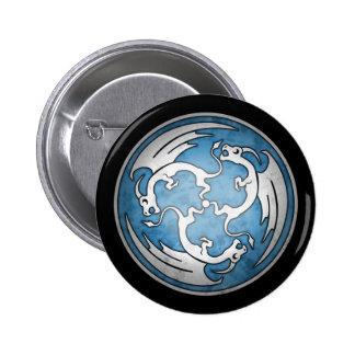Three Celtic Dragons Button - Blue