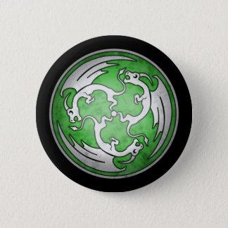 Three Celtic Dragons Button - Green