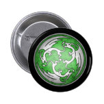 Three Celtic Dragons Button - Green