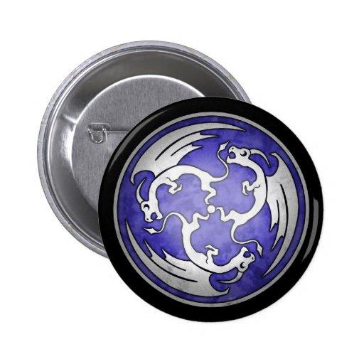 Three Celtic Dragons Button - Purple