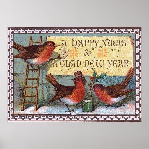 Three charming Birds Poster