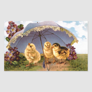 Three Charming Easter Chicks Rectangle Sticker