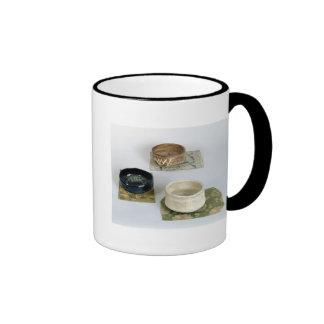 Three chawans used for tea ceremonies, c.1800 ringer mug