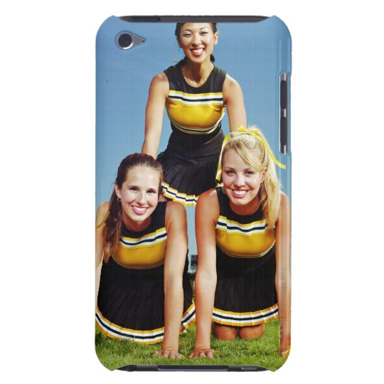 Three cheerleaders forming human pyramid on Case-Mate iPod touch case