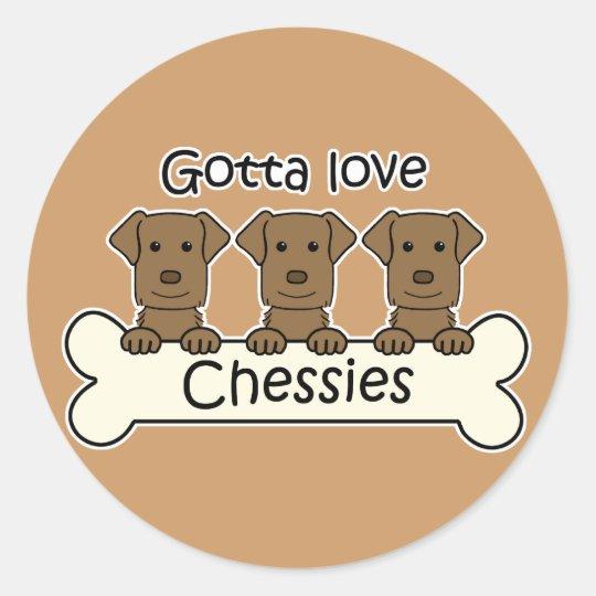 Three Chesapeake Bay Retrievers Classic Round Sticker