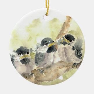 Three Chick-a-Dees Revisited - Watercolor Pencil Ceramic Ornament