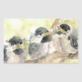 Three Chick-a-Dees Revisited - Watercolor Pencil Rectangular Sticker